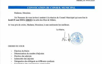Conseil municipal 25 mai 2020